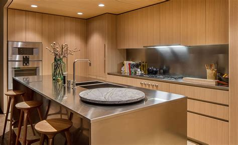 oak cabinets  satin finish stainless steel