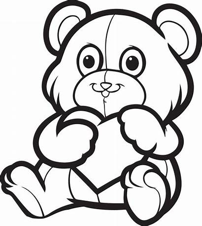 Valentine Coloring Teddy Bear Pages Heart Valentines