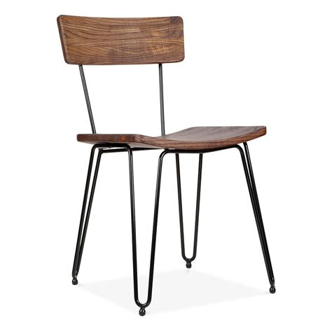 chaise industrielle metal cult living black hairpin chair with wood seat cult uk