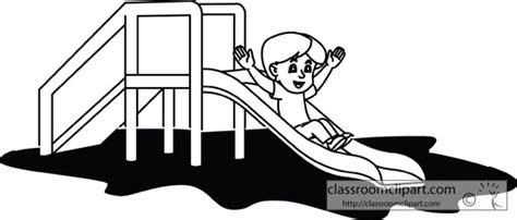 school playground clipart black and white school boy going down playground slide outline