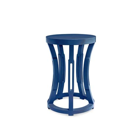 navy blue side table hourglass stool side table navy blue bungalow 5