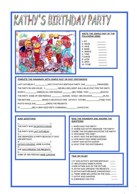 kathy s birthday party english esl worksheets
