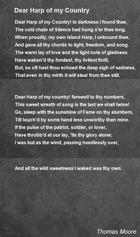 dear harp   country poem  thomas moore poem hunter