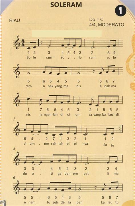 not angka lagu soleram lagu daerah riau pianika piano keyboard