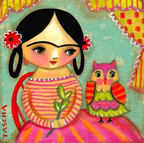Frida Kahlo With Owl Cute Colorful Print Of Folk Art Painting