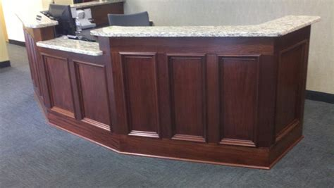 mahogany reception desk wall woodworks company