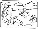 Beach Coloring Pages Chair sketch template