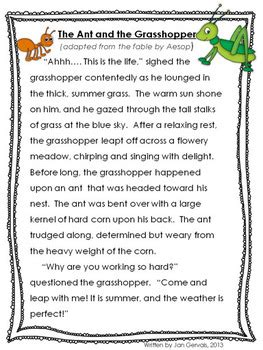 fable freebie the ant and the grasshopper by jan gervais