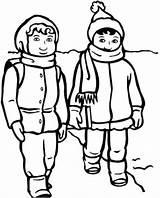 Clothes Winter Line Draw Coloring Boy Clip Boys sketch template