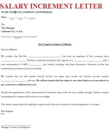 salary increment letter format letters font english