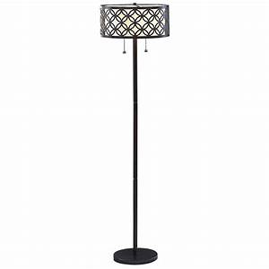 Allen roth 63 in oil rubbed bronze metal shaded floor for Floor lamp with wire shade