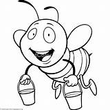 Bee Coloring Cute Flying Pages Getcoloringpages Watermark sketch template