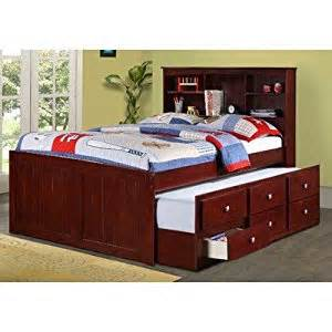 amazon com captain bed with trundle and bookcase size