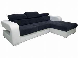 canape d39angle fixe droit arpege coloris blanc noir With canape d angle gris et blanc conforama
