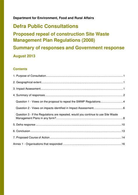 Consultation Site Waste Management Plans The Outcome