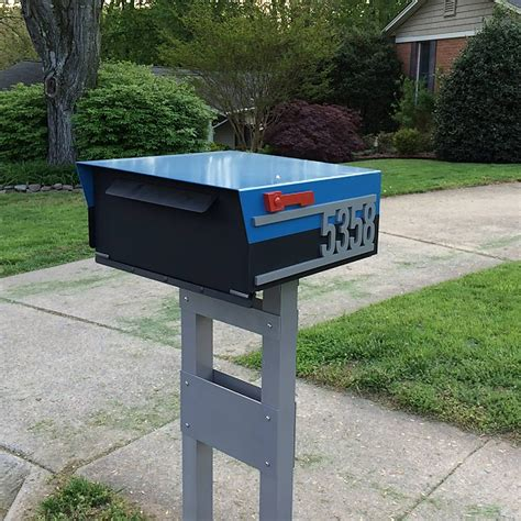 Mailbox numbers can fade over time, but a mailbox plaque number will stay clean and readable for years without potential sun fading. Custom House Number Mailbox No. 1814 Post Mount in Powder Coated Aluminum