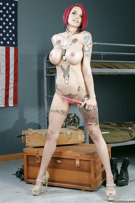 Busty Army Brat Anna Bell Peaks Baring Heavily Tattooed Naked Body