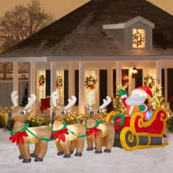 20 long airblown christmas inflatable santa in sleigh with three reindeers christmas decor