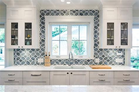 sacks kitchen tile white and blue kitchen boasts white shaker cabinets 4071