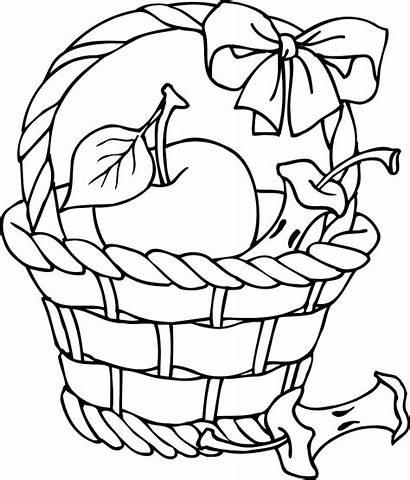 Basket Apple Coloring Clipart Outline Pages Clip