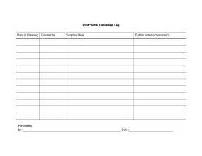 Bathroom Cleaning Log Sheet Template