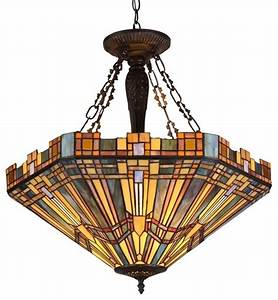 Tiffany style mission inverted pendant ceiling fixture