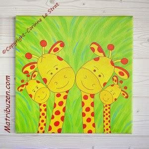 tableau deco chambre tableau chambre enfant animaux de la savane jungle la famille girafes