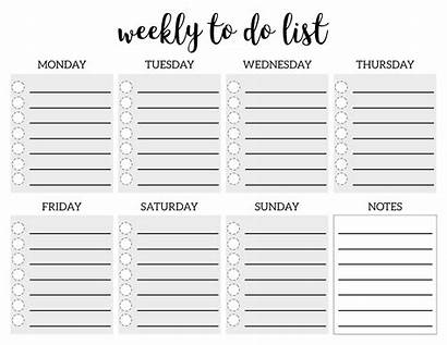 Template Weekly Checklist Printable Blank Paper Planner