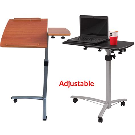 new height adjustable rolling laptop desk hospital table cart bed stand ebay