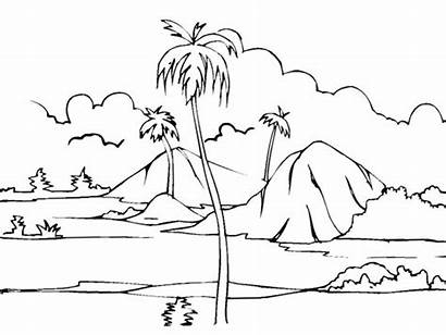 Scenery Drawing Nature Landscape Colour Coloring Simple