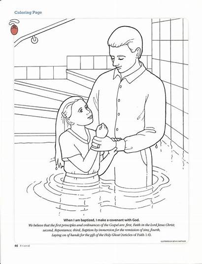 Baptism Coloring Pages Lds Primary Printable Sacrament