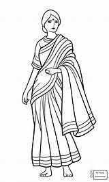 Coloring Indian Pages Drawing India Woman Sari Saree Printable Clipart Flag Colouring Drawings Jamaican Urgent Ancient Getcolorings Clothes Cliparts Paint sketch template