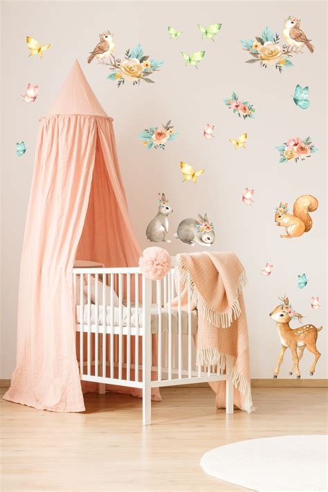 Animals Wall Decals as watercolor decor for girls nursery