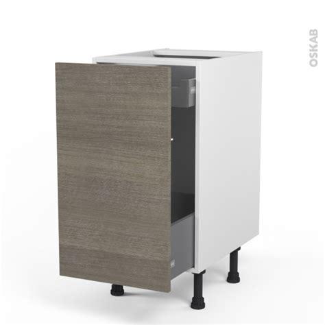 meuble cuisine tiroir coulissant meuble de cuisine bas coulissant stilo noyer naturel 1 porte 1 tiroir à l 39 anglaise l40 x h70 x