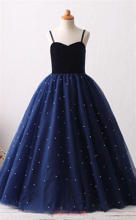 navy blue tulle princess  straps long kids prom