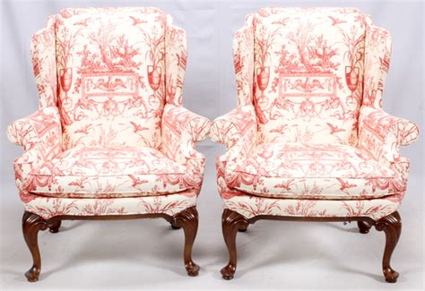 Drexel Red & White Toile Chairs