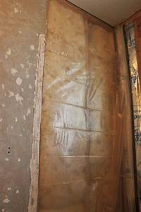 How to prepare a tub surround for tiling for Vapor barrier in bathroom