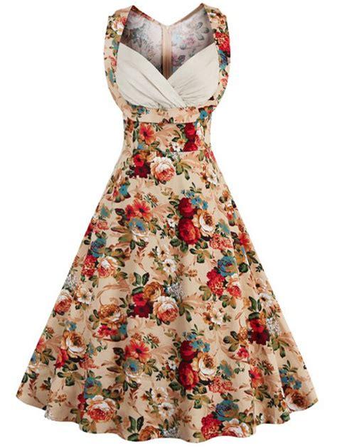 vintage dresses khaki vintage floral print high waisted prom dress  women gamiss