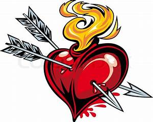 Cartoon red heart with two arrows for tattoo design