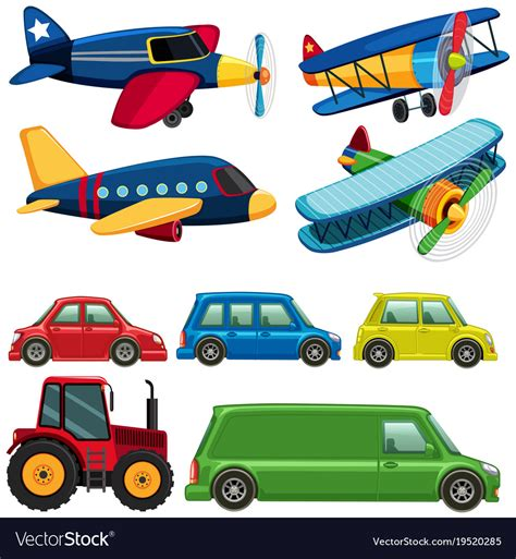 Different Types Of Vehicles On White Background Vector Image