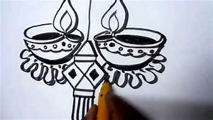 How To Draw Lanterns And Diyaas For Diwali - YouTube