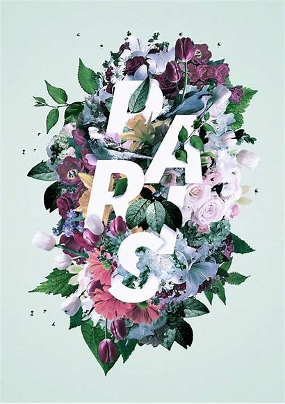 Floral Typography Flowers Designs Text Blend Inspired