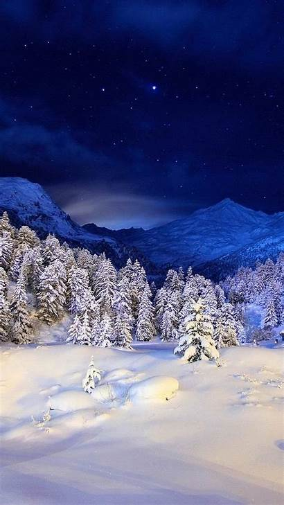Winter Night Mountain Snow Mountains Wallpapers Forest
