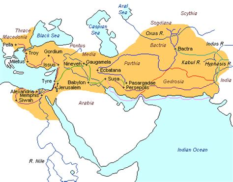 empire  alexander  great map geography pages
