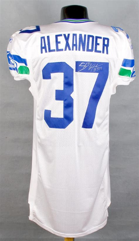 seahawks shaun alexander white game worn jersey
