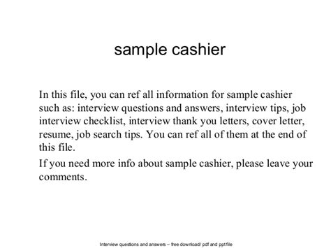 Cashier Answers by Sle Cashier