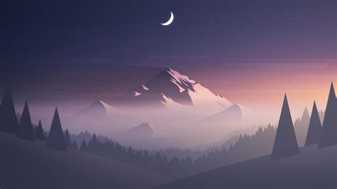 Minimal Anime Wallpaper - mountains moon trees minimalism hd artist 4k wallpapers