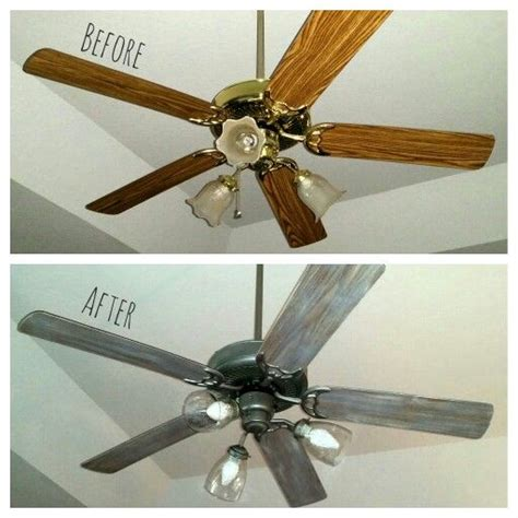 painting ceiling fan blades a 25 ceiling fan makeover new globes bulbs spray