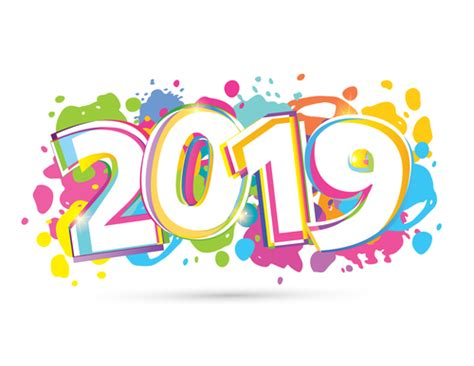 2019 New Year Text Design Vectors Set 15 Free Download