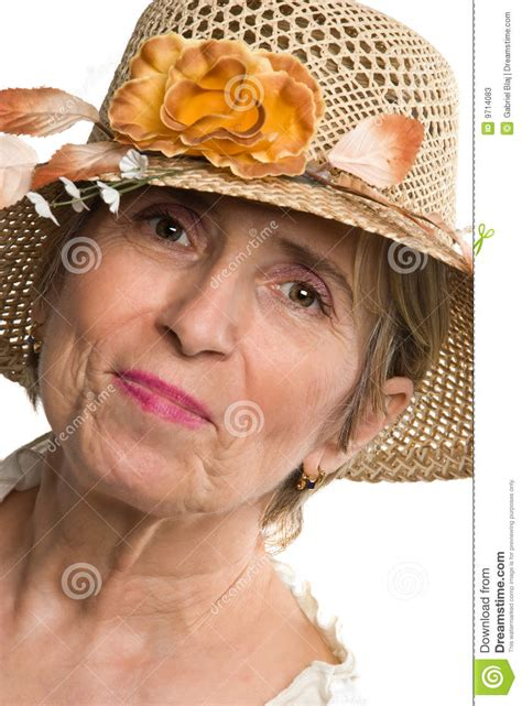 beauty aged senior woman  summer hat stock image image